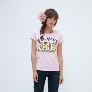 Jasmin Santanen Paris fitted Flower Tiger print Esther t-shirt in bubblegum pink color for women.