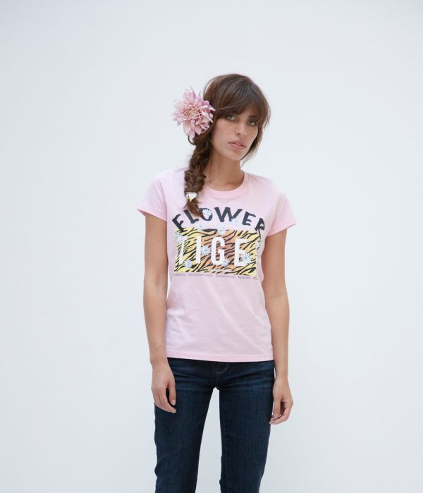 Jasmin Santanen Paris fitted Flower Tiger print Esther t-shirt in bubblegum pink color for women.