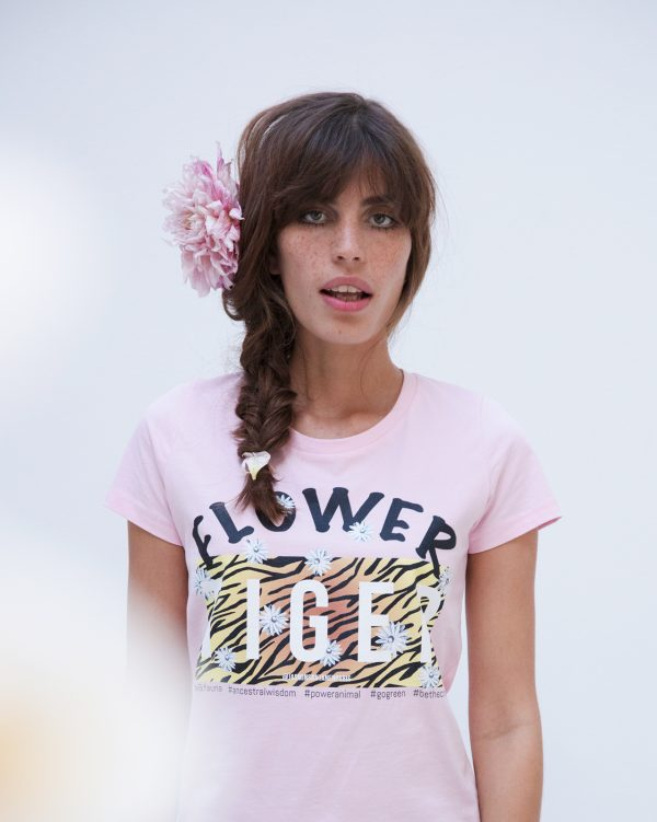 Organic cotton fitted Flower Tiger print Esther t-shirt in bubblegum pink color for women.