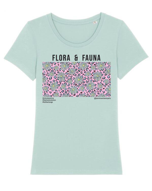 Jasmin Santanen Paris fitted Flora & Fauna print Esther t-shirt in mint color for women.