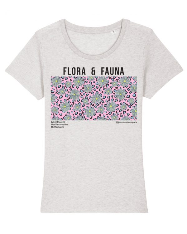 Jasmin Santanen Paris fitted Flora & Fauna print Esther t-shirt in light heather grey color for women.