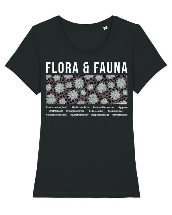 Jasmin Santanen Paris fitted Flora & Fauna print Esther t-shirt in black color for women.